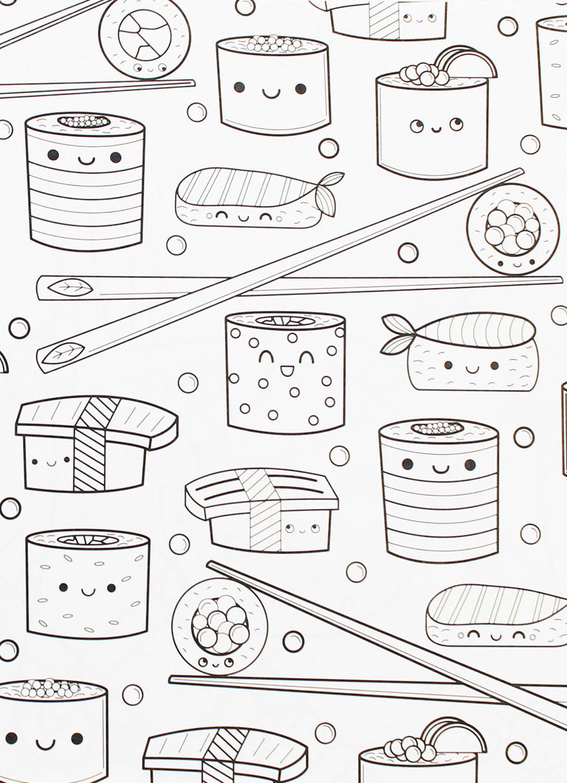 878x1212 Kawaii Sushi Coloring Pages