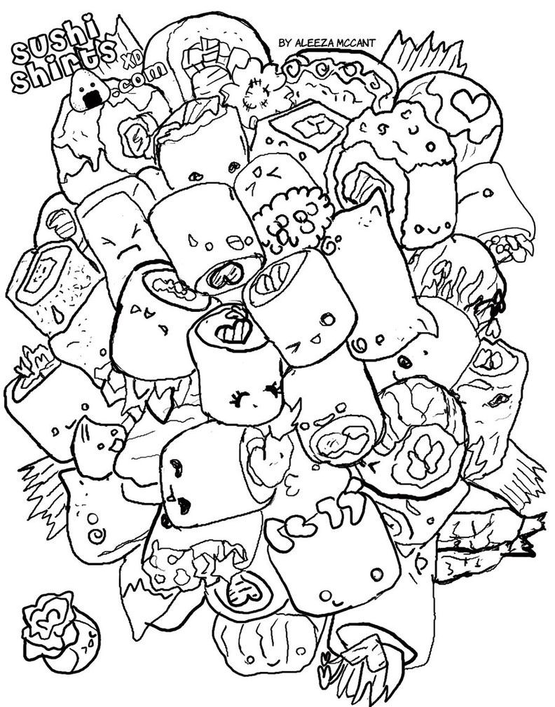 792x1009 Sushi Cat Coloring Pages
