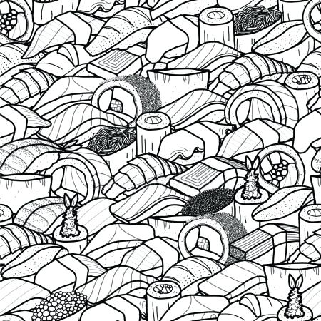 450x450 Sushi Coloring Pages Plenty Of Sushi And Roll Cute Food Hand Drawn