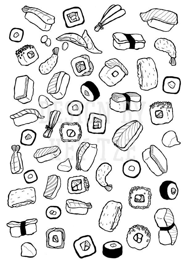 600x848 Sushi Colouring Page