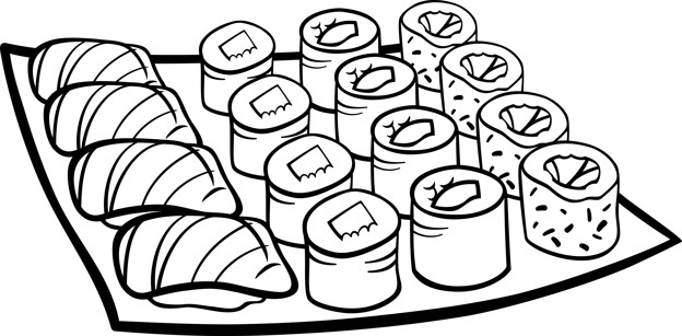 624x307 Sushi Lunch Cartoon Coloring Page Vector Premium Download