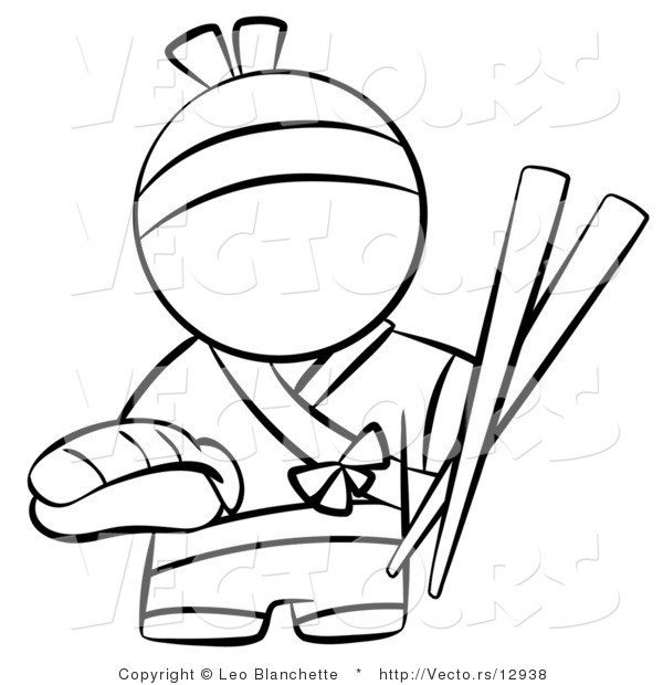 600x620 Vector Of Japanese Chef With Chopsticks And Sushi