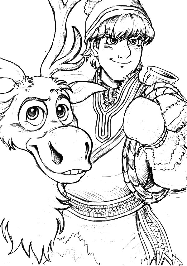600x854 Kristoff Loyal Friend Sven The Reindeer Coloring Pages