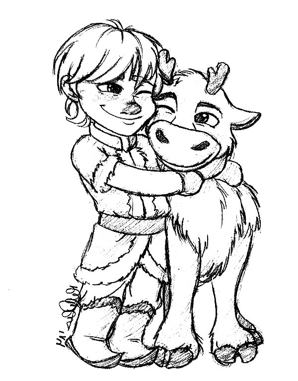 600x767 Little Kristoff Hug His Bestfriend Sven Coloring Pages