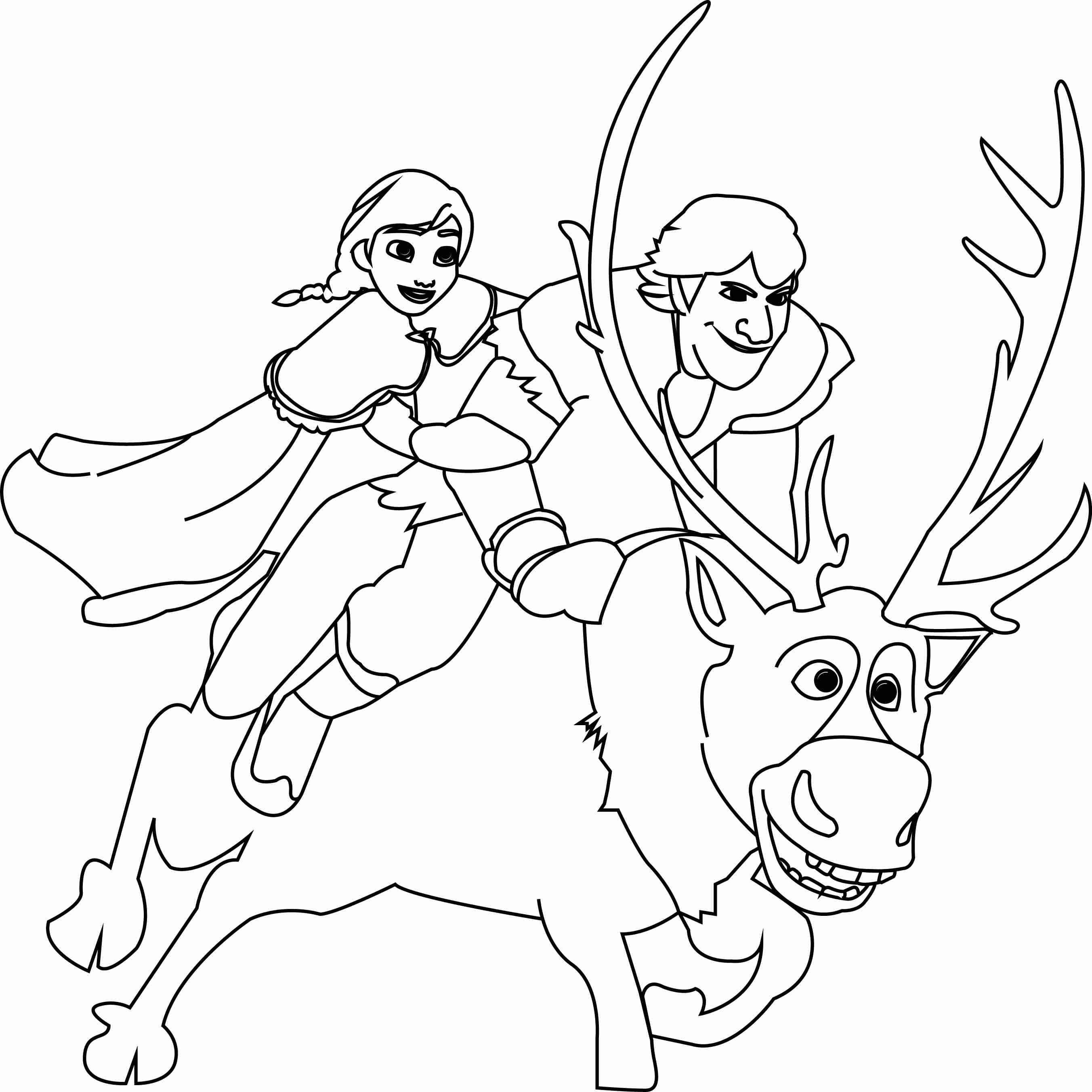2704x2703 Anna Kristoff And Sven Coloring Page Wecoloringpage Fair Frozen