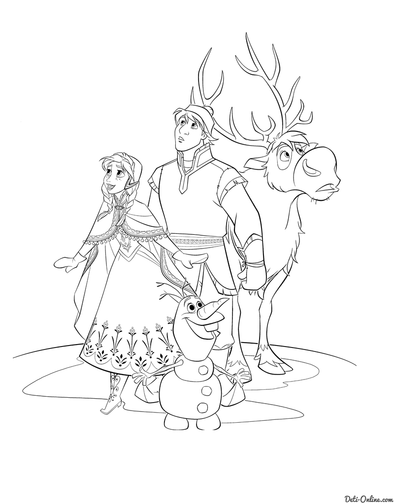 800x1024 Frozen Coloring Pages, Animated Film Characters Elsa, Anna, Print