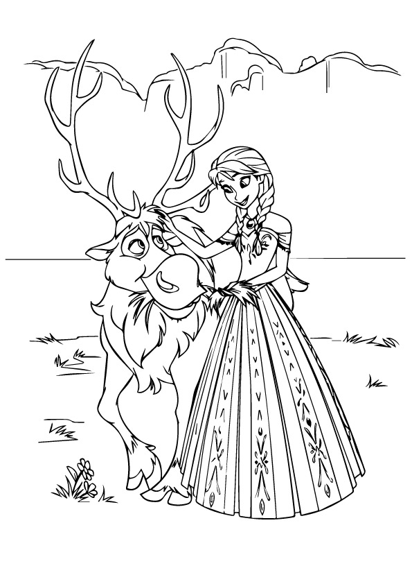 595x842 Frozen Coloring Pages Sven And Anna