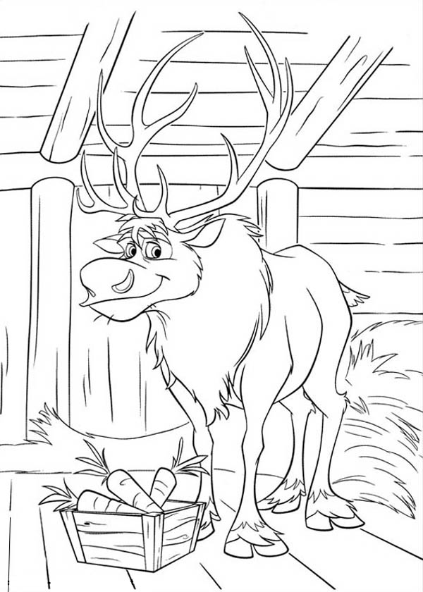 600x840 Sven Eating Carrots Free Coloring Page Disney, Frozen, Kids