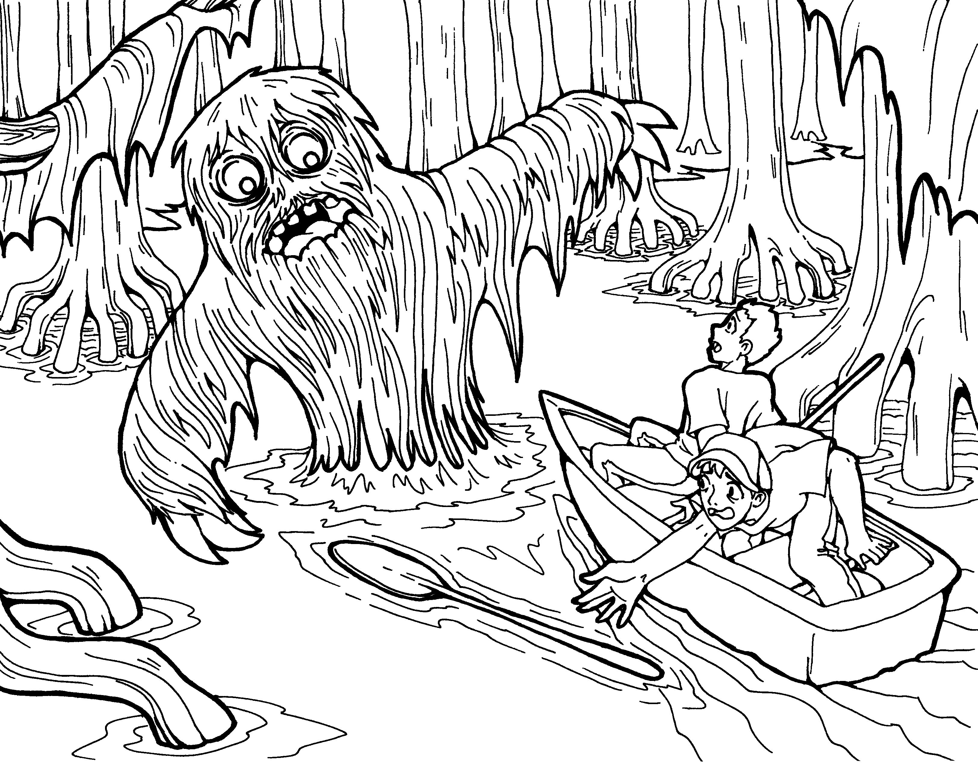 3250x2549 Free Swamp Monster Coloring Page Just For Halloween!! Enjoy!! Find