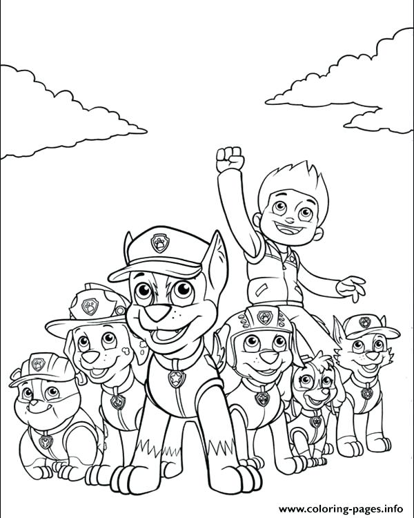 600x750 Team Coloring Pages Print Paw Patrol And His Powerful Team