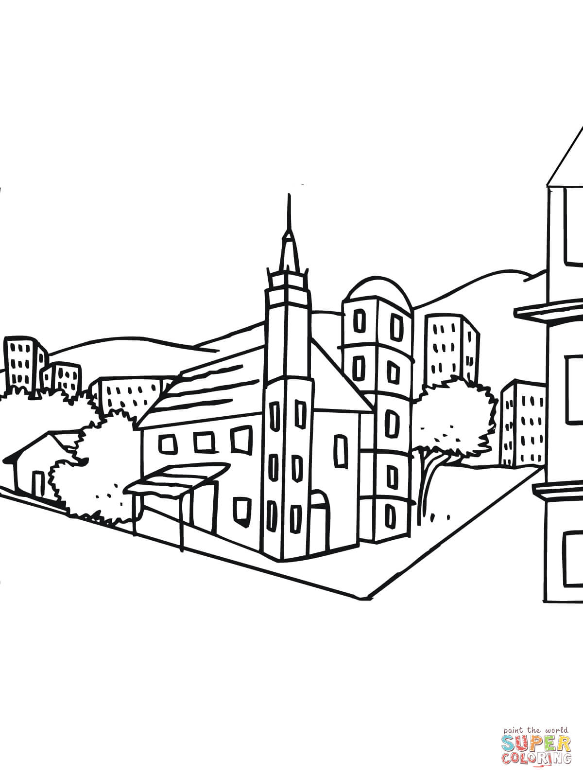 1200x1600 City Landscape Coloring Pages Sweden City Landscape Coloring Page