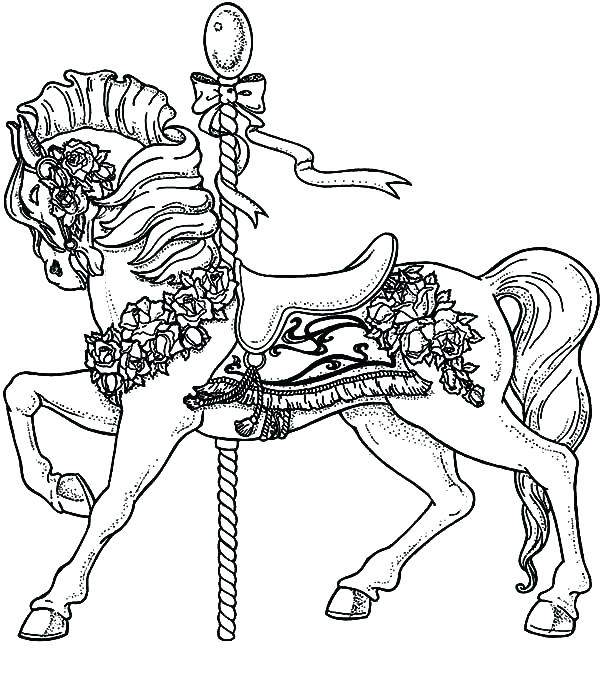 600x692 Carousel Coloring Page Pool Coloring Pages Carousel Horse Beside