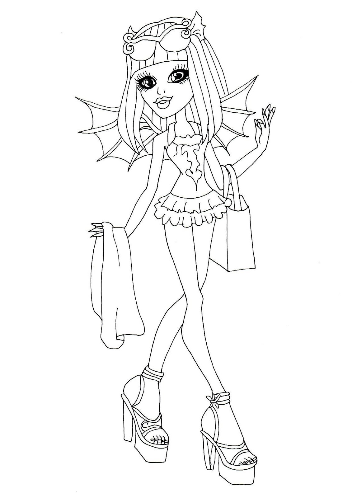 1131x1600 Free Printable Monster High Coloring Pages Rochelle Goyle Swim