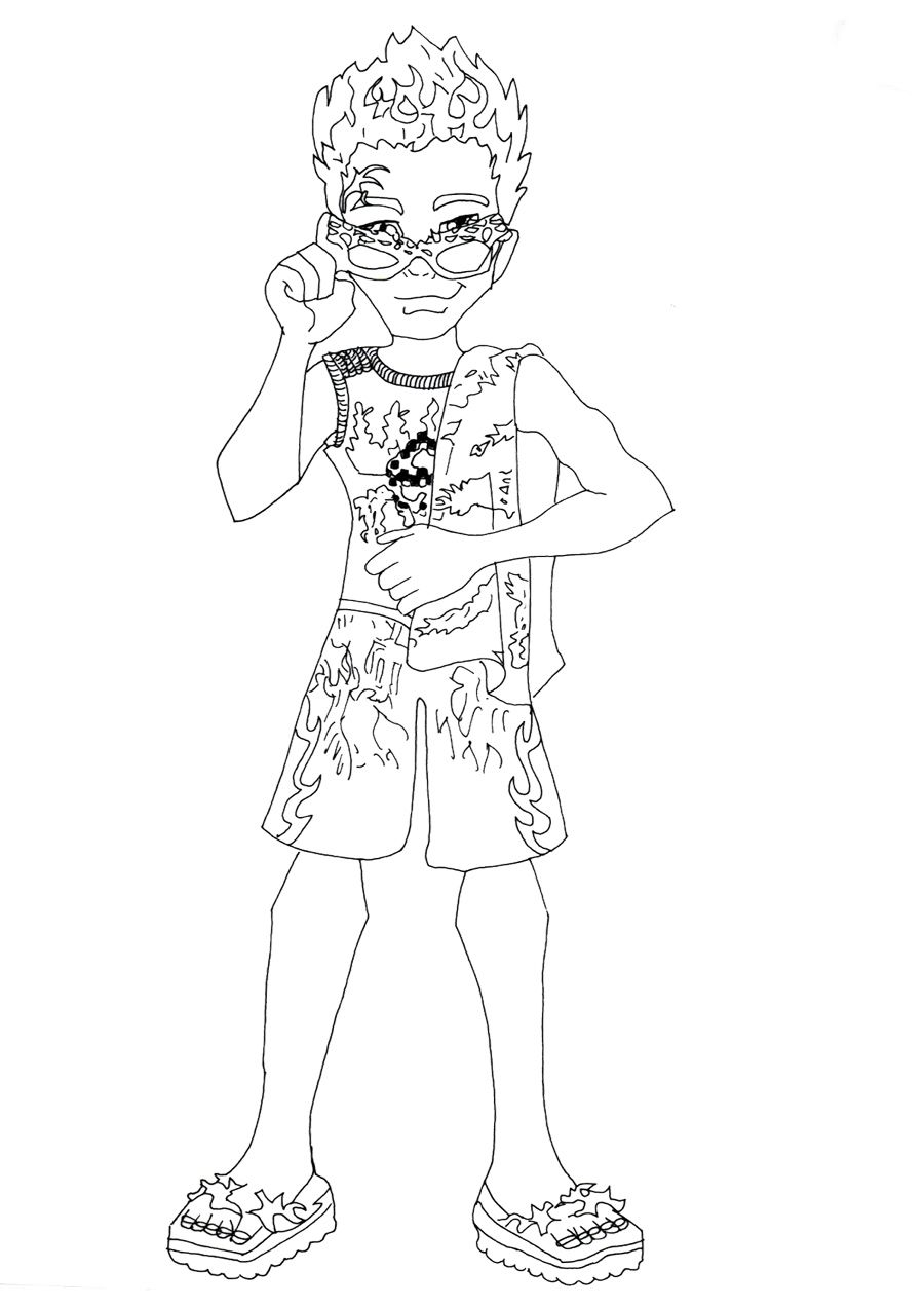 900x1272 Holt Hyde Swim Class Coloring Page Monster High Coloring Page
