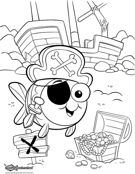 450x580 Coloring Page For Goldfish Swim School