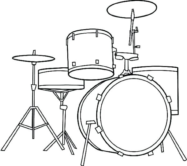 600x535 Drums Coloring Page Free Printable Pages