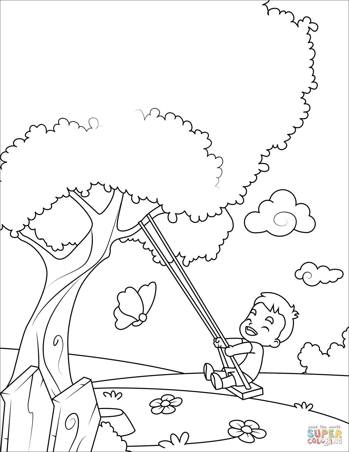 1159x1500 Just Arrived Swing Set Coloring Page Boy On A Free Printable Pages