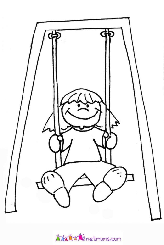 685x1024 Swing Set Coloring Page