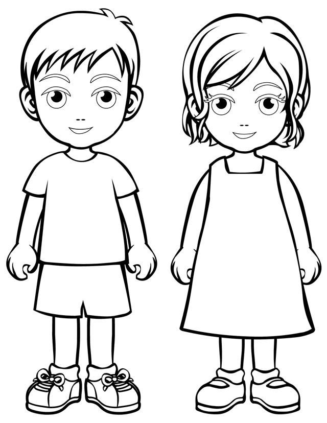 640x828 Boy And Girl Coloring Page