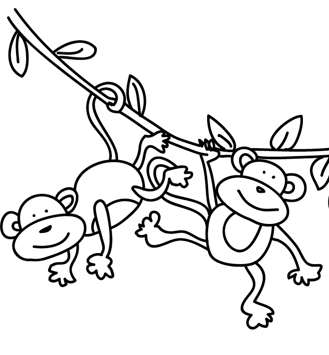 Swinging Monkey Coloring Page At Getdrawings Com Free For