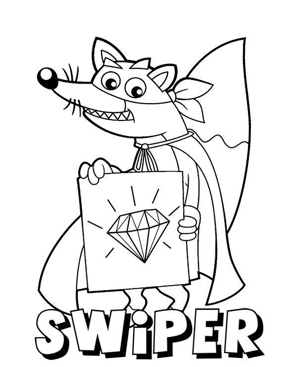600x740 Fox Swiper Printable Coloring Page For Boys And Girls