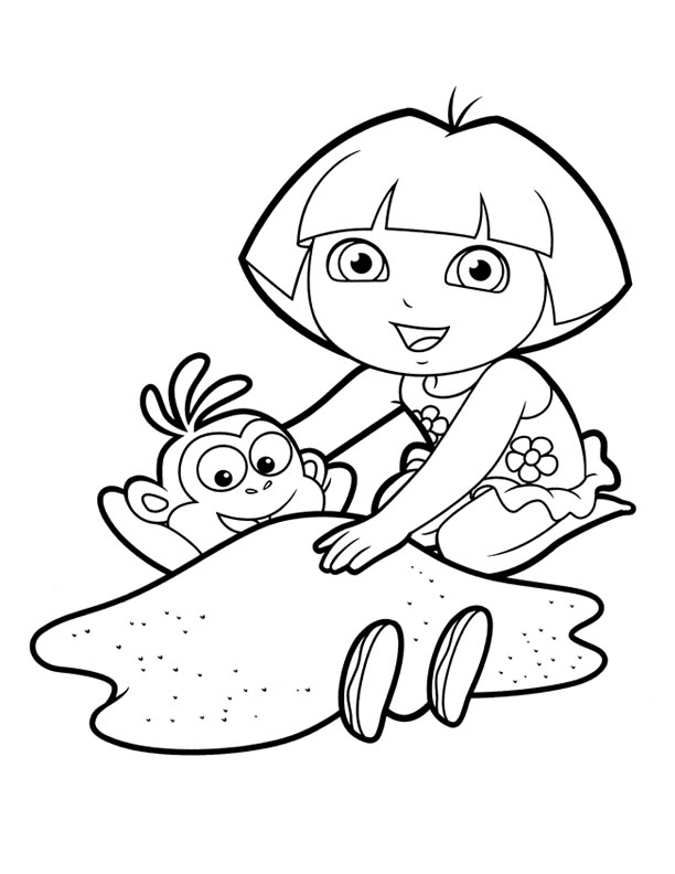 612x792 Dora Coloring Pages Backpack Diego Boots Swiper Print And Color