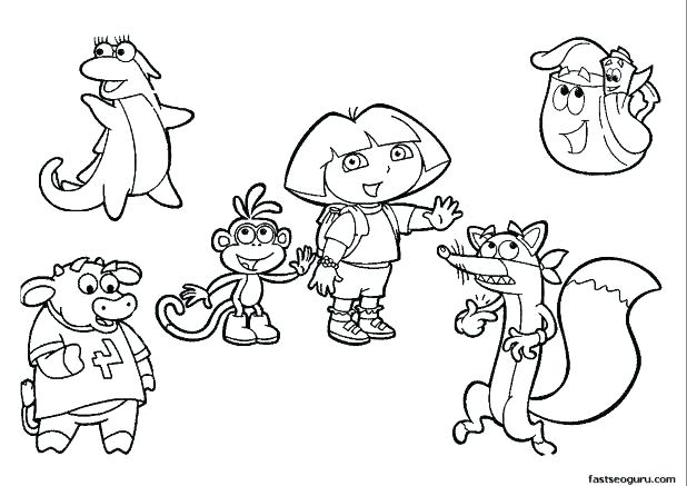 618x437 Dora And Boots Coloring Pages S Prt Dora Boots Swiper Coloring