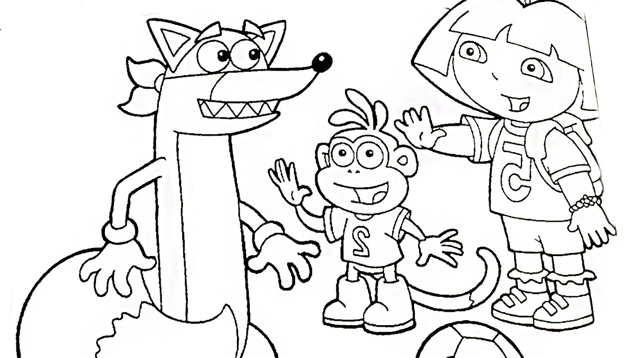 1280x720 Dora Say Hello To Swiper Coloring Book Pages Videos For Kids