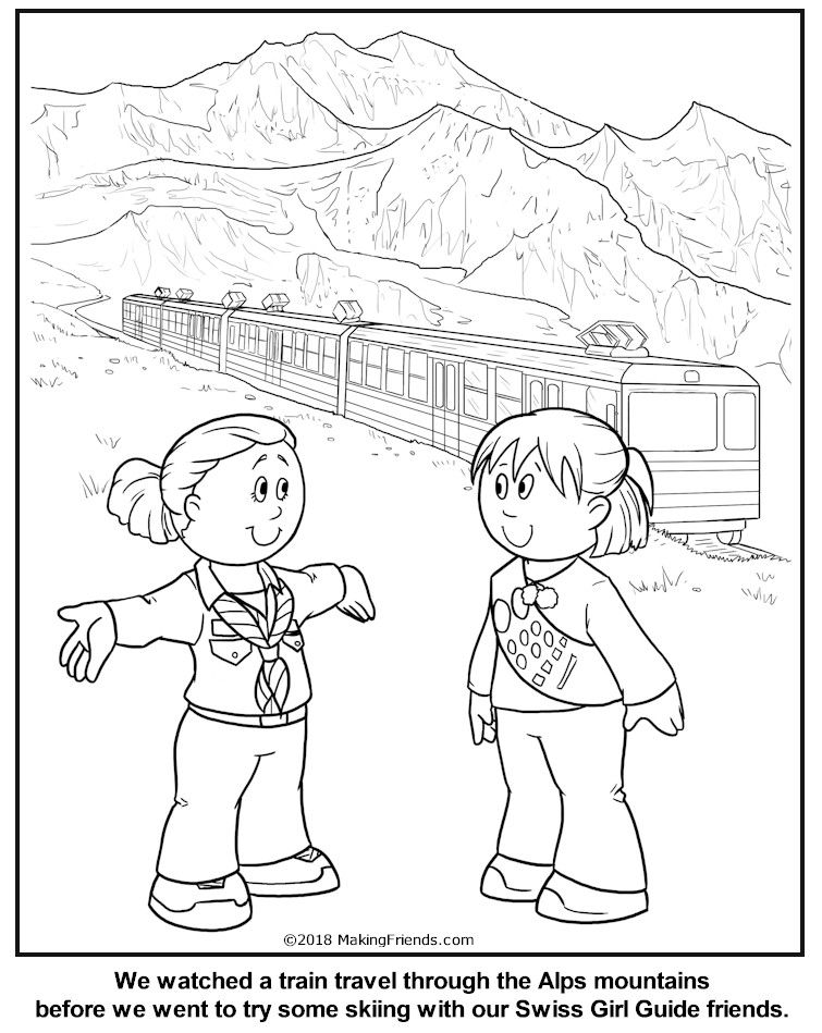 Swiss Alphorn Players coloring page from Switzerland category ... | 949x755