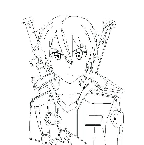 564x569 Online Coloring Page Sword Art Online Coloring Pages Coloring
