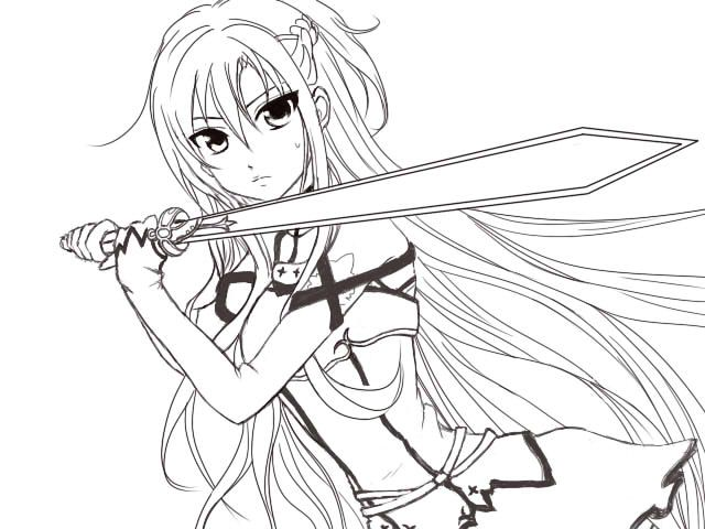 640x480 Sword Art Online Asuna Coloring Pages Sketch Coloring Page