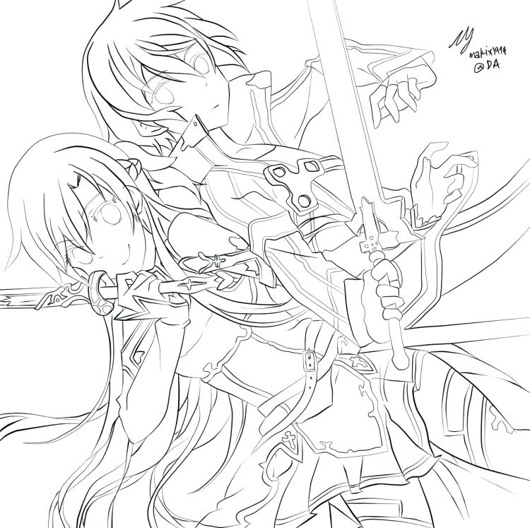 750x747 Sword Art Online Coloring Pages Medium Size Of Coloring Pages