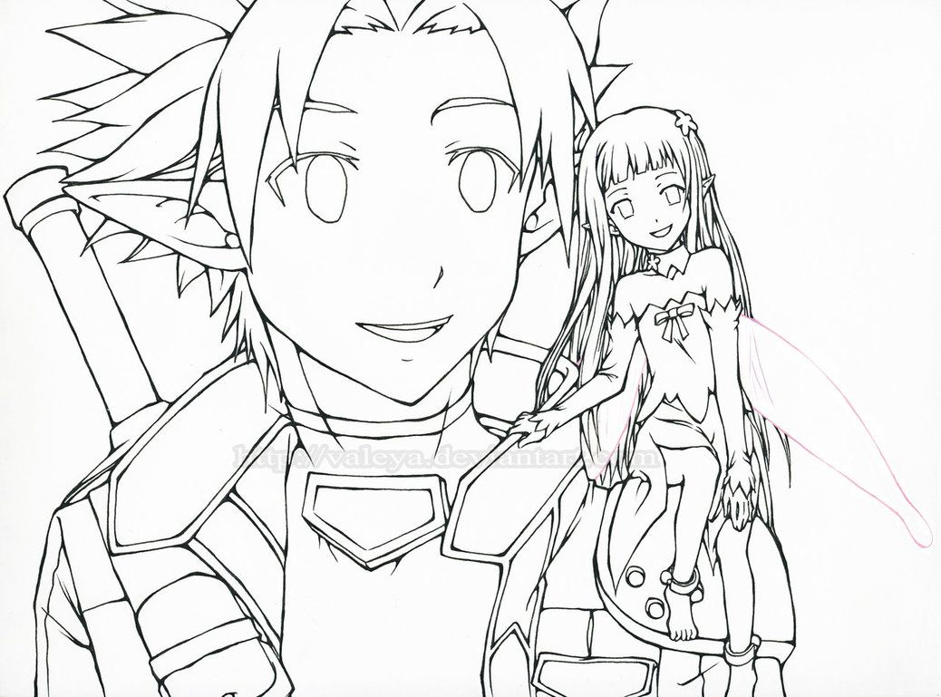 1038x769 Sword Art Online Kirito Coloring Page Coloring