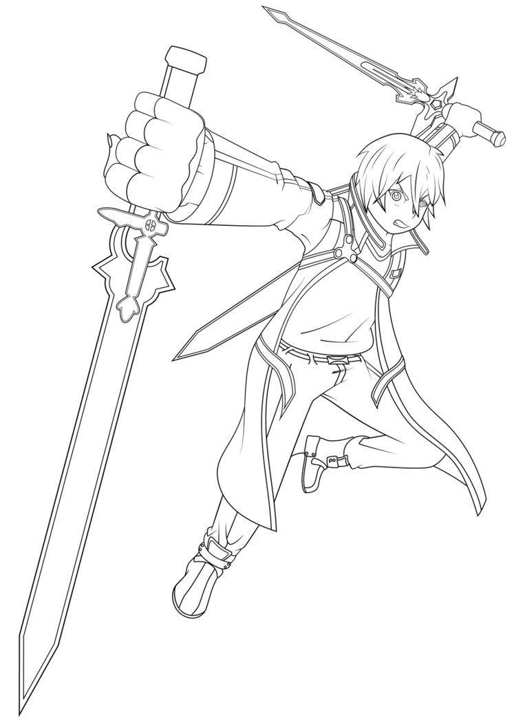 763x1047 Sword Art Online Kirito Coloring Pages Images Color Me
