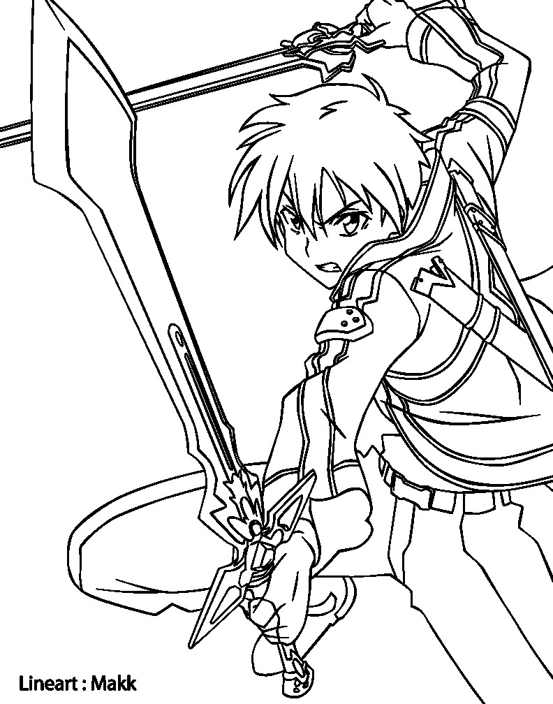 792x1008 Sword Art Online Kirito Drawing Coloring Pages
