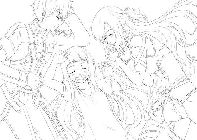 650x460 Kirito And Asuna Coloring Pages