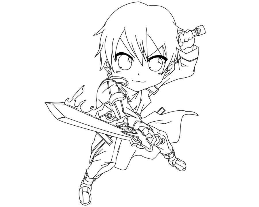 900x720 Kirito Coloring Pages Lineart Sword Art Online