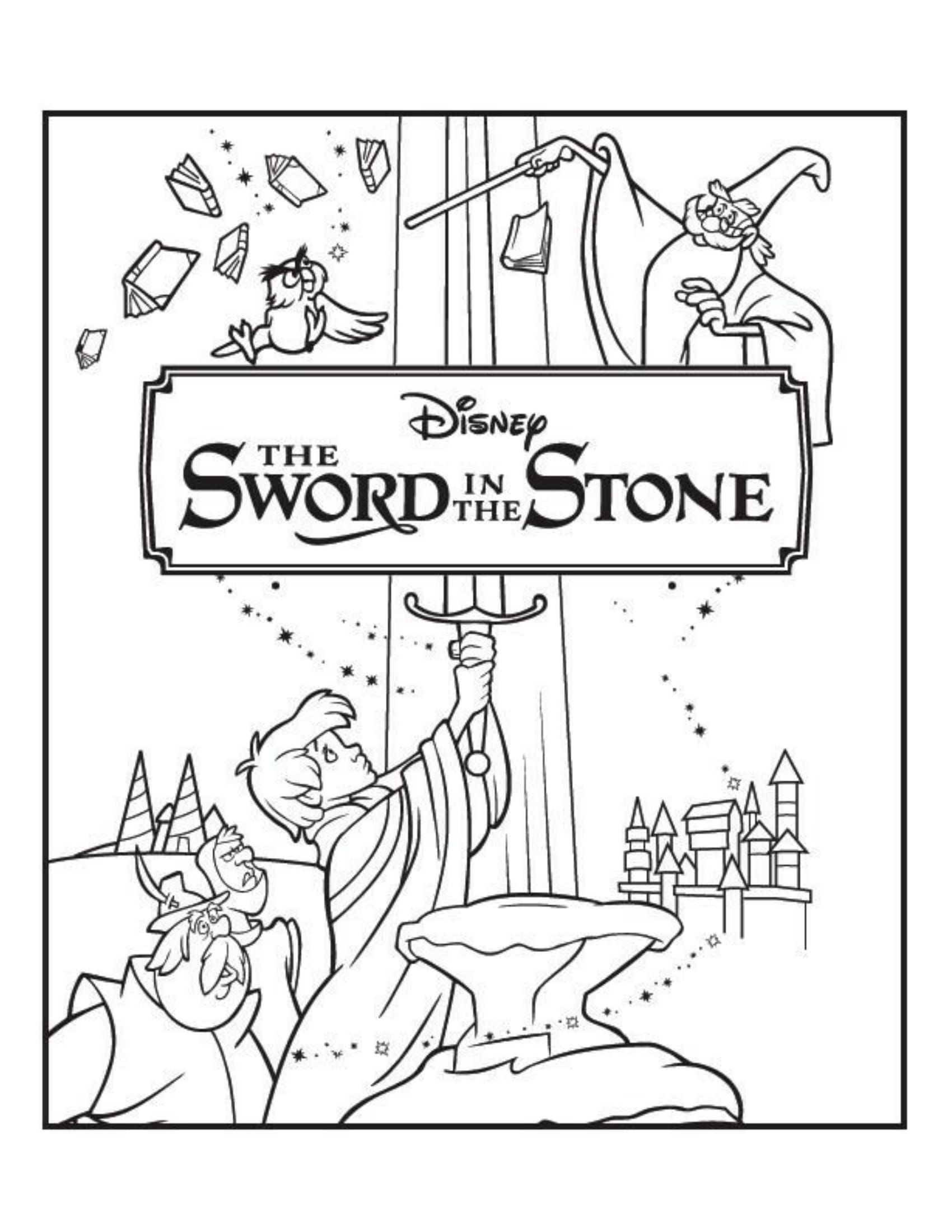 1700x2200 The Sword In The Stone Disney Coloring Pages Movie Covers