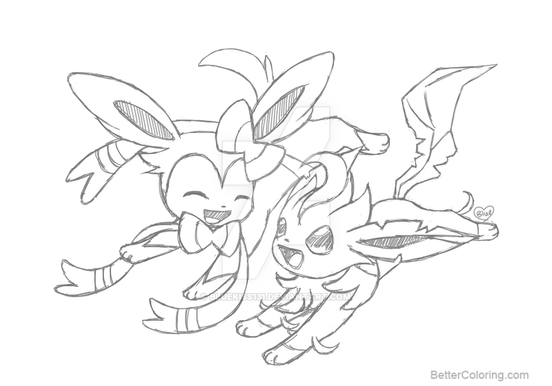 800x560 Sylveon Coloring Pages With Leafeon