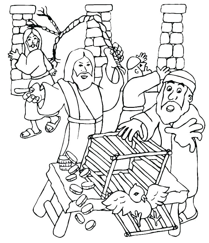 Jesus Cleansing the Temple coloring page | Free Printable Coloring ... | 791x682