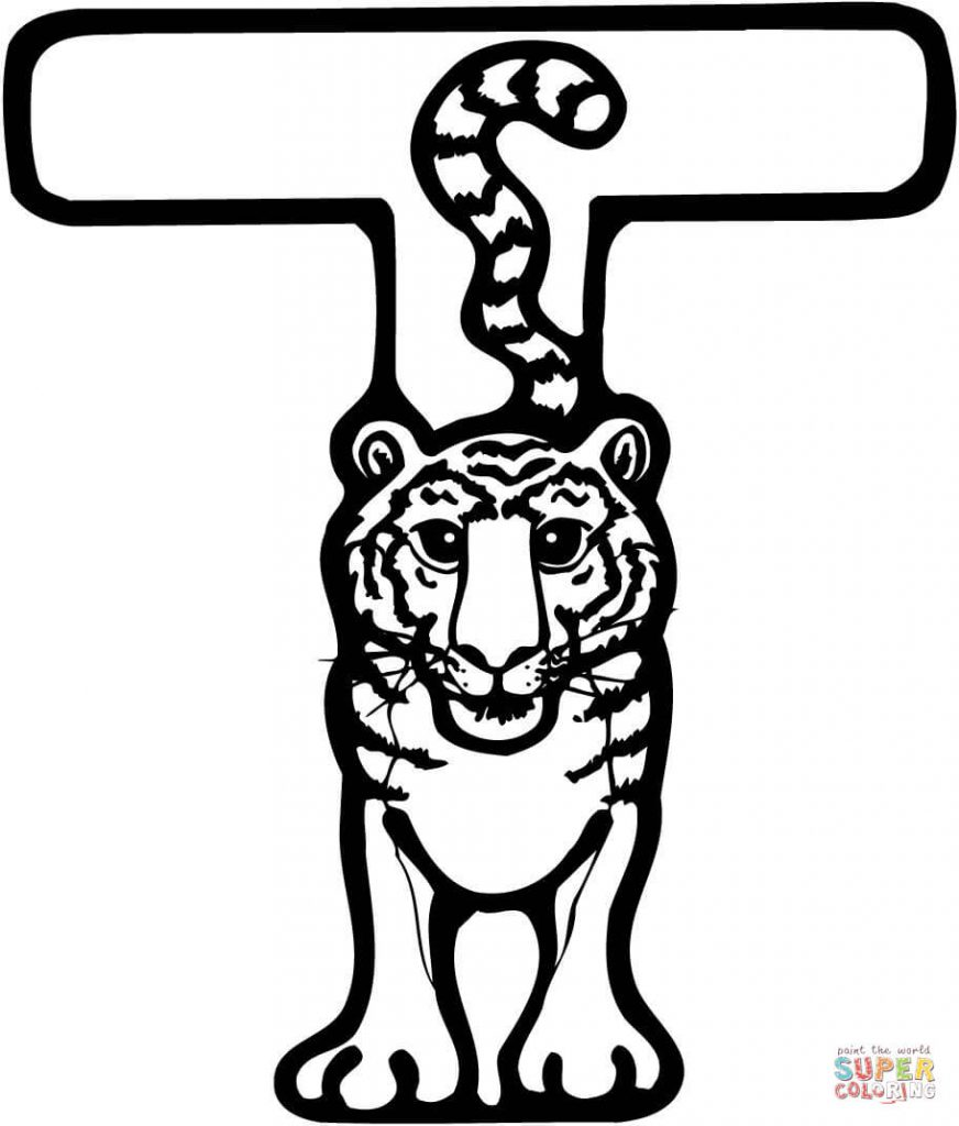872x1024 Letter T Tiger Coloring Page Smart Pages Printable Animal