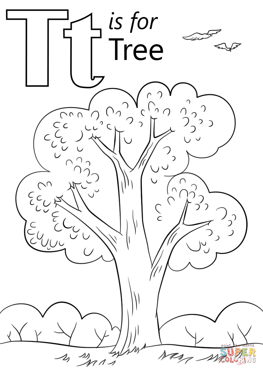 849x1200 Letter T Coloring Page