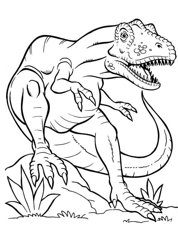 600x771 Terrifying Dinosaurus T Rex Coloring Page Color Luna