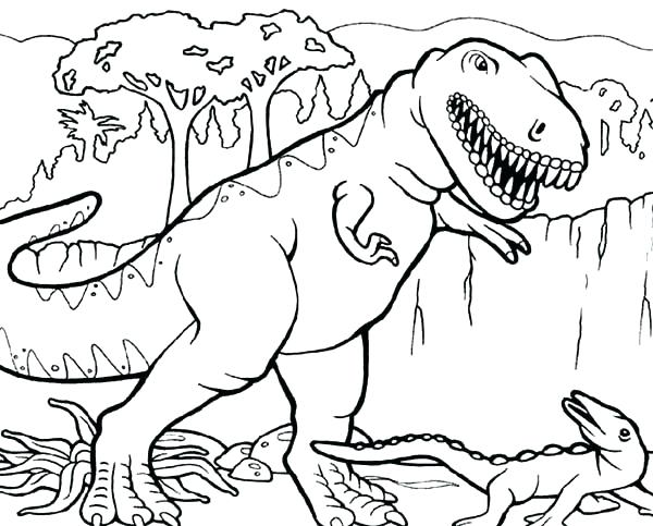 600x483 Trex Coloring Page Baby T Coloring Pages Triceratops Attacking