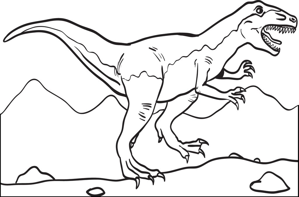 1024x675 Free, Printable T Rex Dinosaur Coloring Page For Kids