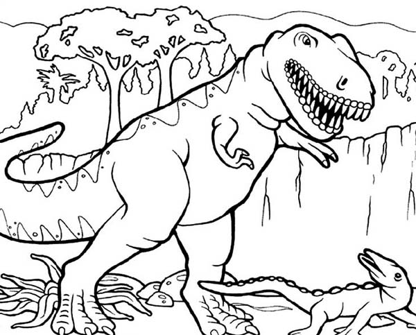 600x483 T Rex Dinosaurs Coloring Pages For Kids