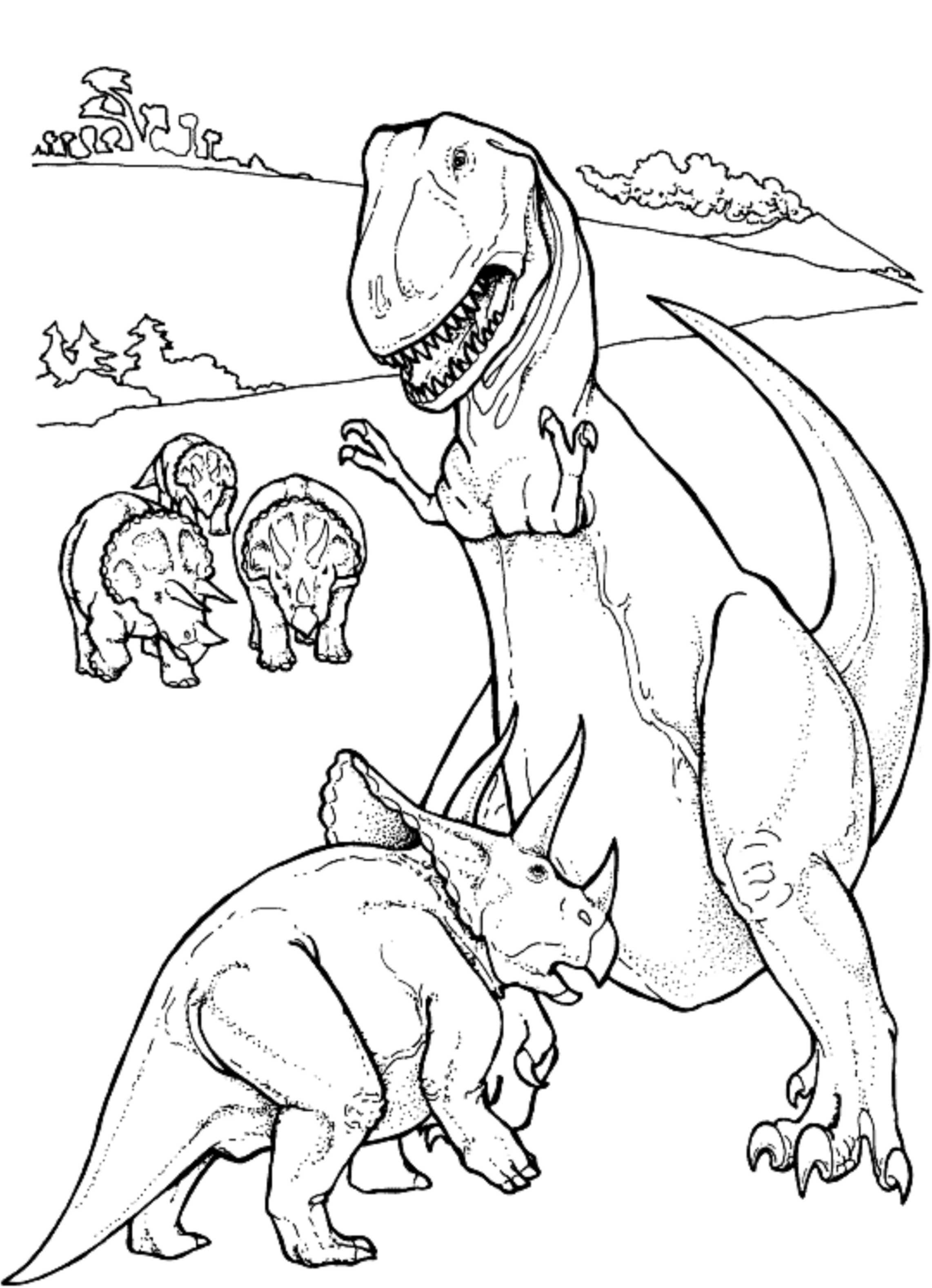 2283x3154 Triceratop Vs T Rex Dinosaur Coloring Pages Kids Colouring Pages