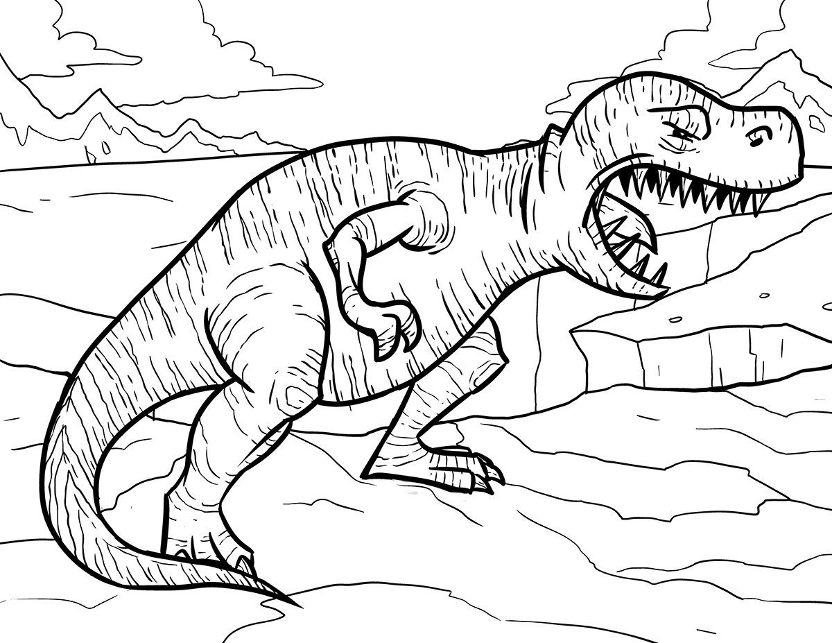 T Rex Skeleton Coloring Page