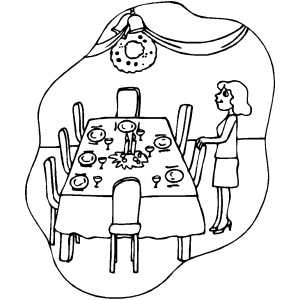 300x300 Dinner Table Coloring Page