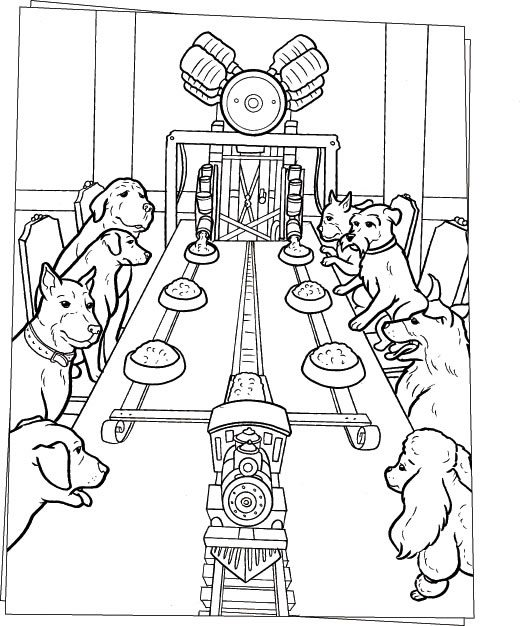 520x626 Dogs Dinner On The Table Coloring Page Animal Pages